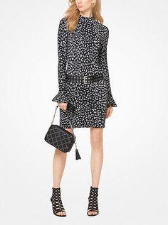 e05be9ab69 Michael Kors Leopard Jacquard Knit Dress Crochet Sleeved Dresses