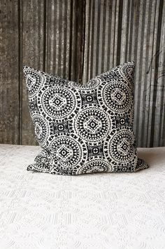 Black and linen medallion pillow cover by OliverandRust on Etsy, $30.00