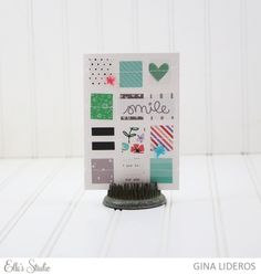 Smile scrapbooking card by Gina Lideros for Elle's Studio