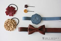 How to make different bows and flowers with leather or use technique with other materials.