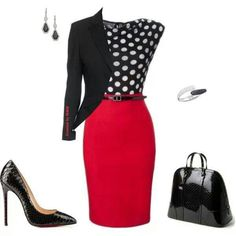 55 Super Ideas Womens Fashion For Work Professional Attire Career Polka Dots Fashion Mode, Office Fashion, Business Fashion, Work Fashion, Fashion Looks, Womens Fashion, Fashion Trends, Fashionista Trends, Business Outfits