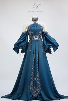 The Northern Sky wedding dress. Petrol teal silk embroidered with rich silver lace. The Northern star adorns the halter while the crescent moon is shining on the waist belt.  For commissions o...