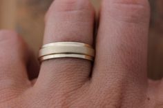 Ready to Ship Size 9, 14k Yellow Gold Men's Wedding Band, Slate Band RIng in Solid Recycled  Gold. $728.00, via Etsy.