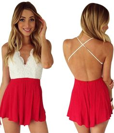 The sexy V-neck line crossed straps to reverse design, the adorable print pattern and the contrast lace make that gorgeous red playsuit sundress. http://www.cutedresses.co/go/Deep-V-Neck-Playsuit-Backless-Chiffon-Short-Jumpsuit-Dress