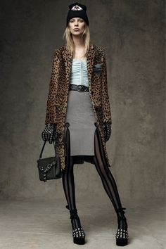 Alexander Wang Pre-Fall 2016 collection.  Leopard and those stockings!