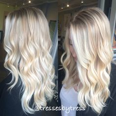 Here's Every Last Bit of Balayage Blonde Hair Color Inspiration You Need. balayage is a freehand painting technique, usually focusing on the top layer of hair, resulting in a more natural and dimensional approach to highlighting. Ombré Hair, Hair Day, New Hair, Curly Hair, Platinum Blonde Hair, Bright Blonde Hair, Brassy Blonde, White Blonde, Blonde Hair Bangs