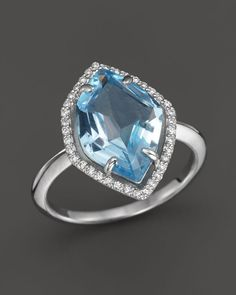 Diamond & Blue Topaz Statement Ring in 14K White Gold