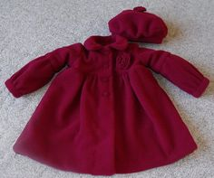 Girl's winter coat and hat set, cranberry lined in rose pink, classic,  made to order, available in sizes Newborn-4T