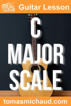 In this guitar lesson, we are going to talk about music theory! We will focus on C Major Scale, but this formula can be used to make any major scale because you can start with whichever note you want. If you think music theory is difficult, we are going to make this easy and fun. The major scale is a series of notes that follows these rules: 8 notes, the same starting and ending note, and every note is only named once. The C Major Scale starts on C and ends on C. Play Guitar Chords, Learn Acoustic Guitar, Guitar Scales, Learn To Play Guitar, Acoustic Guitars, Major Scale, C Major, Guitar Online, Guitar Lessons For Beginners