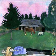 Marc Chagall O Poeta Reclinado 1915 Tate Gallery, Londres  Esta pintura serenamente calma captura um momento triste na vida de Marc Chagall, um dos maiores pintores de vanguarda da Rússia, e sua esposa Bella.  Executado durante sua lua de mel em 1915, mostra o artista sonhador reclinado em frente a dacha da família, ou casa de campo.  Ao longo da parte inferior da composição, ele jaz esticado na grama, seu corpo alongado dramaticamente, com a grande maioria da pintura feita com um céu…
