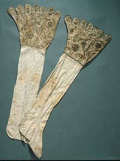 Courtesy of The Royal Armoury (http://emuseumplus.lsh.se/eMuseumPlus). Gustavus Adolphus' (Gustav II Adolf's) linen boot hose, with embroidery of black silk and gold thread.