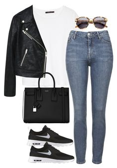"""Untitled #1620"" by breannaflorence ❤ liked on Polyvore featuring MANGO, Topshop, Alexander Wang, Yves Saint Laurent and NIKE"