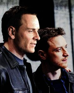 Michael Fassbender and James McAvoy...OMG Michael is soooooo cute here! The darker hair suits him too! :)