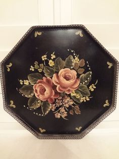 Vintage hand painted metal tole tray with roses.