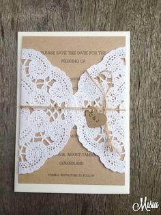 Simply Lace Save The Date Card by MisiuAU on Etsy, $2.00 DIY Invite maybe