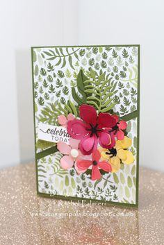 Stampin' Pals: Tropical Flowers FM235 Stampin Up Botanical Blooms 2016 occasions catalog