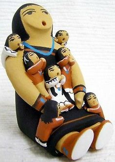 Indian Storyteller Story Teller with Seven Children Pottery by A Luna