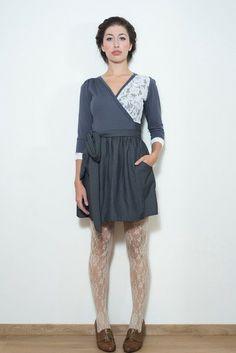 Grey Pinstripe Wrap Dress// Lace von Chrystal auf DaWanda.com