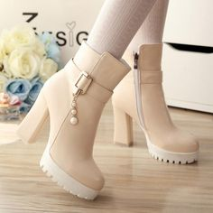 Jun 2018 - White/Beige/Black High Heel Low Boots Comes in black, beige and white. Low Boots, High Heel Boots, Heeled Boots, Boot Heels, Platform Boots, Dr Shoes, Shoes Heels, Golf Shoes, Fashion Boots