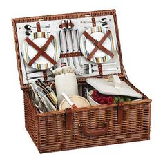 The Dorset English style picnic basket for four is made to last with quality construction and stylish details. Beautifully hand crafted using full reed willow, each basket includes ceramic plates, glass wine glasses, and the highest