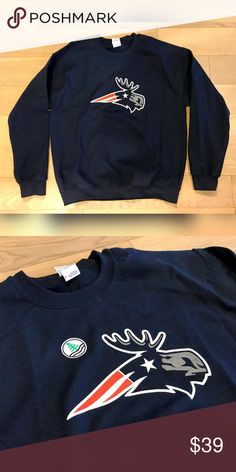 New England Patriots Pats Sweatshirt Maine Moose Maine 'Flying Moose' Logo Pats Sweatshirt.  Brand New. Shirts Sweatshirts & Hoodies