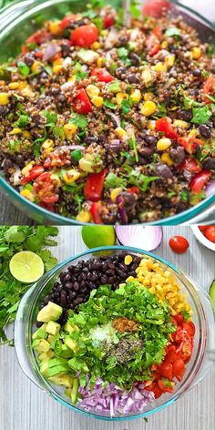 Mexican Quinoa Salad - This Mexican style quinoa salad is made with . - Mexican Quinoa Salad – This Mexican-style quinoa salad is made with black beans, corn, tomatoes, avocados, red – salad - Best Salad Recipes, Soup Recipes, Lima Bean Recipes, Mexican Quinoa Salad, Mexican Avocado, Bacon Avocado, Southwest Quinoa Salad, Kale Quinoa Salad, Mediterranean Quinoa Salad