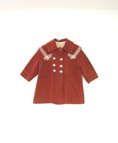 65a483a2a Vintage Baby Clothes, 1900's Rare Handmade Dark Red and Ivory Double  Breasted Wool Baby Girl