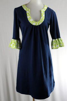 TRACY NEGOSHIAN Small Navy Blue Green 3/4 Sleeve Knit Stretch Dress #TracyNegoshian #Shift #Casual