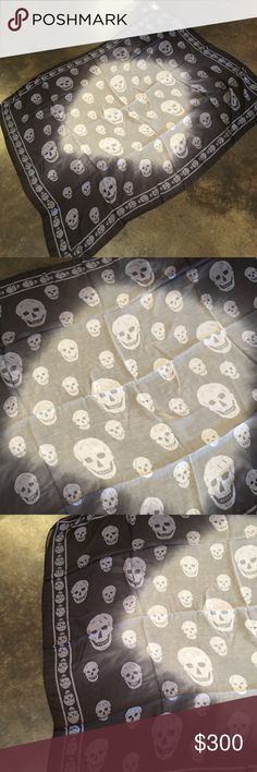 """Alexander McQueen black white ombré skulls scarf This is incredibly soft it is protein and cashmere WOW!!!! Measures 47x40"""" i do not sell fakes ever and will not respond to that. No trades price is firm I will not respond to offers Alexander McQueen Accessories Scarves & Wraps"""