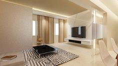white elegant TV feature wall