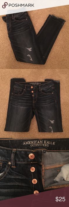 "NWOT American Eagle ""Tomgirl"" Super stretch Jeans Never Worn. In Excellent Condition. size 0. These are the Tomgirl style so they are meant to be slouchy, similar to the boyfriend jeans. dark wash. American Eagle Outfitters Jeans Boyfriend"