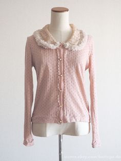 axes femme Fur Tippett Classic Lolita Cardigan Dress Sweater Blouse SizeM Japan #axesfemme #Cardigan