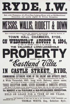 A nice chunk of type... Auction Poster | Ryde, Isle of Wight | 8th August 1894