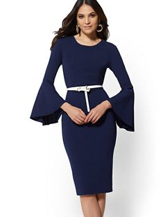 02b81a5b Shop Bell-Sleeve Sheath Dress - Magic Crepe - 7th Avenue. Find your  perfect. New York & Company