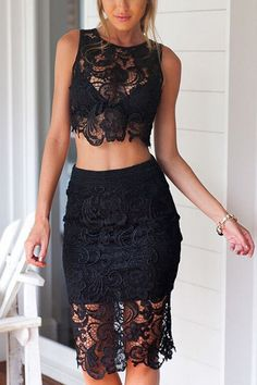 Black Sexy Lace Details Crop Top & Midi Skirt Co-ord from mobile - US$23.95 -YOINS