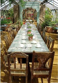Need long, long table & mis-matched chairs. Alice in Wonderland wedding party.                    I like the idea in the greenhouse.