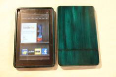 Blue Kindle Fire Wood Case - colorful custom hand finish. $39.00, via Etsy.