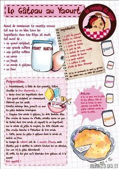 illustration - Page 4 - super kureuil Sweet Recipes, Cake Recipes, Mexican Dessert Recipes, Yogurt Cake, Food Journal, Recipe Journal, No Cook Desserts, French Food, Afternoon Snacks