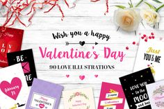 Bundle: 90 Valentine's Day Illustrations - only $15!