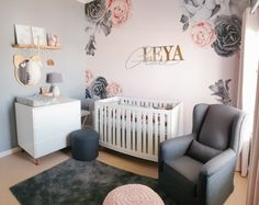 Leya Grace Nursery - Project Nursery - blush pink and grey girl's nursery with floral wall decals mural -