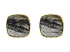 Fronay Collection 14k Gold Plated Sterling Silver  Grey Rutilated Quartz Studs, .56""