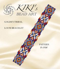 Bead loom pattern  Golden tribal bracelet ethnic inspired