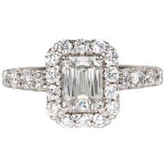 Unique GIA Christopher Designs Criss Cut Emerald Cut Engagement Ring   From a unique collection of vintage engagement rings at https://www.1stdibs.com/jewelry/rings/engagement-rings/