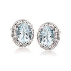 2e198ed71 Ross-Simons - 1.75 ct. t.w. Aquamarine Earrings With Diamonds in Sterling  Silver -