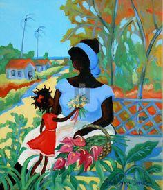 Caribbean Art from artist and painter Janice Sylvia Brock Caribbean Culture, Caribbean Art, Black Girl Art, Black Art, African Paintings, Art Paintings, Jamaican Art, Haitian Art, Art Africain