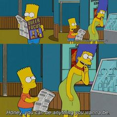Sound advice Marge.  #TheSimpsons #Marge #Bart #butch #femme #lgbt #lesbian #gay #sexuality #sex #sexEd #sexeducation #sexualorientation #tvshow #humor #lol #haha #funny #tv #binge #classic #iconic #icon #homer