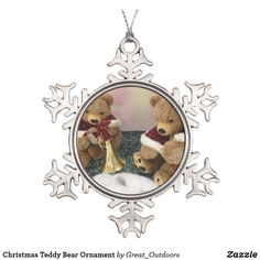 Shop Christmas Teddy Bear Ornament created by Great_Outdoors. Snowflake Ornaments, Hanging Ornaments, Christmas Ornaments, Christmas Eve, Diy Teddy Bear, Christmas Teddy Bear, Family Memories, Family Kids, Family Holiday