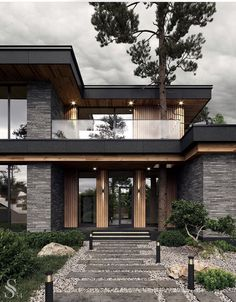 Best interiors of Studia 54 - portfolio Modern Exterior House Designs, Modern House Facades, Modern Architecture House, Modern House Plans, Architecture Portfolio, Modern Houses, Modern Contemporary House, Modern Wood House, Amazing Architecture