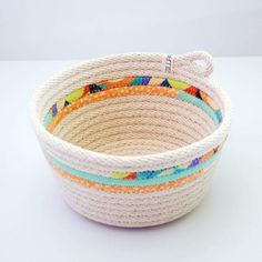 LIMITED EDITION // Fabric Wrapped Rope Bowl MEDIUM // Orange and Teal