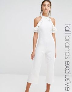 e179b33f85c Alter Tall Cold Shoulder Ruffle Detail Culotte Jumpsuit Cream Jumpsuit